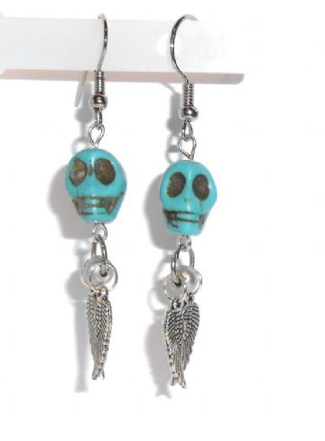 Natural Turquoise 3D Skull Earrings